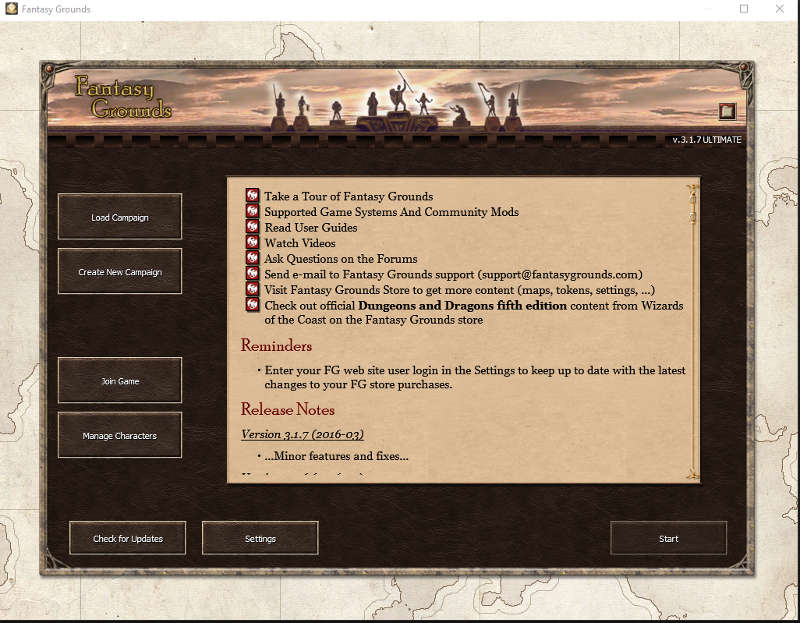 FGstarting Screen
